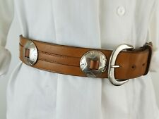 Vintage Tony Bryant Women Belt Camel Brown Concho Double Leather Brass Buckle 32