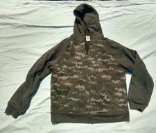 BOYS SZ XX-LARGE (18) Full Zip Hoodie Jacket Green Digi Camo Fleece lined