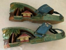 Vintage 1940's 1950's Wood Carved Palm Tree Manila Womans Shoes