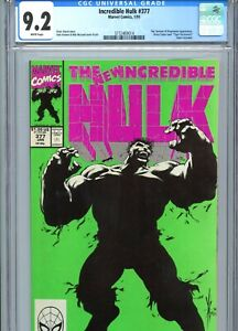 Incredible Hulk #377 CGC 9.2 White Pages Classic Cover Marvel Comics 1991