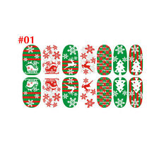 Christmas Nail Art Stickers 3D Design Manicure Tips Decals Wraps Decorate DIY #1