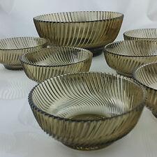 Schalen Set 7 Tlg Rauchglas diagonal Vintage Design Streifen 60er gem France 14