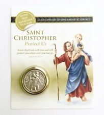 ST SAINT CHRISTOPHER CAR BADGE - Magnetic / Self Adhesive Two-Tone Metal Plaque