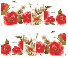 Nail Art Calcomanías Traslados Pegatinas rojo y flores blancas (A-148)