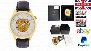 Jean bellecour Mens Analog Automatic Watch with Black Leather Bracelet JB1126*UK