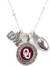 Oklahoma Sooners Multi Charm Love Football Red Silver Necklace Jewelry OU