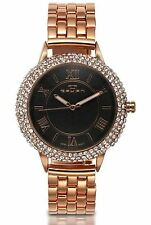 NEW Tavan 1436 Women's Crichett Diamond Roman Numeral Black Dial Rose Gold Watch
