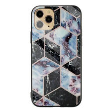 For iPhone 11 Pro Max XS XR X 8 7 Marble Hybrid Tempered Glass Back Case Cover