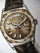 Watercolor Painting Rolex Watches Leather Band Crown Rich ACEO Art Card