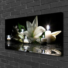 Leinwand-Bilder 100x50 Wandbild Canvas Kunstdruck Steine Blume Kerzen Kunst