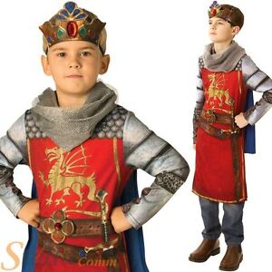 Boys Deluxe King Arthur Costume Medieval Prince Child Fancy Dress Outfit