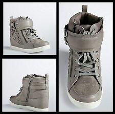 NIB Torrid Size 11W Gray Stud Wedge Sneakers (Wide Width) #39