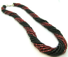 Torsade necklace Black and red glass beads 16 inch twisted strands