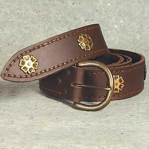 """MEDIEVAL KNIGHT CRUSADER VIKING Brown Leather Long UNISEX BELT 80"""" Long O/S New"""