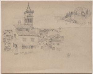 Original 1898 drawing, GREECE, Corfu Island, signed