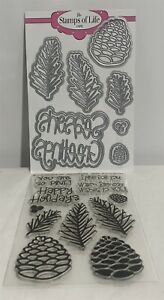 The Stamps of Life PINE CONES Christmas Branch Rubber Stamps Dies Set Lot