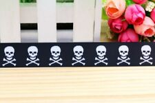 "Skull and Crossbones Pirate Ribbon 7/8"" Wide NEW UK SELLER FREE P&P"