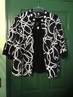 Women Dana Kay Size 16W Black & White Sleeveless top with long sleeve Jacket