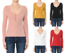 S M L Women's Basic Long Sleeve Henley Fitted T-Shirt Cotton Stretch Knit Top