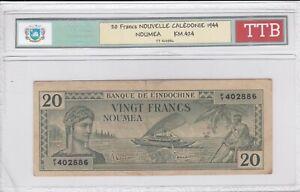 BILLET DE 20 FRANCS NOUVELLE CALEDONIE 1944 TTB!!!