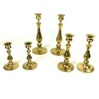 Solid Brass Candlesticks Candle Holders Set Of 6 Graduated Heights Curved 3 Pair