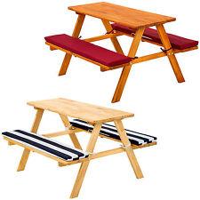 Table bancs de pique-nique meubles enfants bois jardin avec coussins