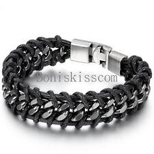 Men's Stainless Steel Leather Braided Bracelet Chain Metal Buckle Bangle Cuff