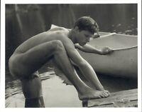 1990 Bruce Weber Nude Male Model Leg Up Canoe & Wood Dock Art Photo Gravure
