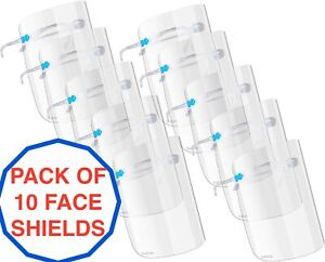 10 x Clear Face Shield With Glasses Anti Fog Anti-saliva Safety Visor Goggles UK