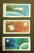 POLAND STAMPS MNH 1Fi983-85A Sc875-77 Mi1127-29B - Space flight, 1959, **