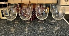 Williams-Sonoma Set/8 Clear Wine Glasses With Etched Grapes