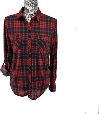 Eden & Olivia Maternity Red/Black Buffalo Plaid Button Up Shirt. Anthro. Sz M