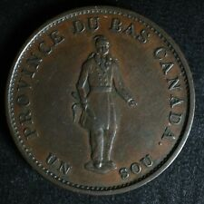 LC-8A1 Halfpenny token Un sou 1837 Lower Bas Canada City Bank Breton 522