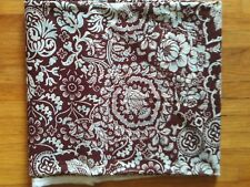 Brown, aqua, white knit stretch fabric, botanical print Ethnic Patch 60 in 2.5 y