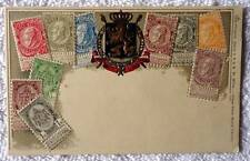EMBOSSED POSTCARD BELGIUM COAT OF ARMS STAMP BORDER DESIGN #L6