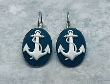 ANCHOR CAMEO EARRINGS White on Navy Blue SILVER PLTD LEVER BACK Nautical Naval