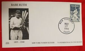 1984 Babe Ruth FDC 5/17/1984  blach & white  color  UNC
