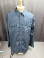 Wrangler Western Shirt Sz XL Black long sleeve black pearl snap striped