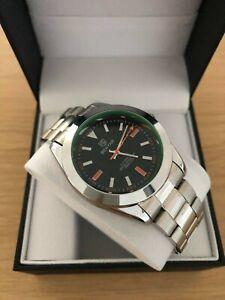 Men's Silver & Black Watch Automatic Classic Explorer + Watch Box RRP £169.99