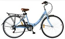 "Ecosmo 26"" Wheel Folding Ladies Women City Bicycle Bike 7 SP, 17"" -26ALF08B"