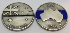 Thin Blue Line Coin #2, Australian Flag, Police, Law Enforcement, TBL, 42mm
