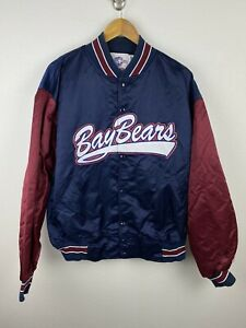 Vintage Mobile Baybears 90s Mens Satin Jacket Size 2XL Embroidered Minor League