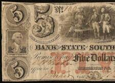 1859 $5 DOLLAR # 100 SOUTH CAROLINA BANK NOTE LARGE CURRENCY OLD PAPER MONEY