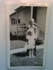 Vintage PHOTO Boy Taking Care Of His Younger Sister In Front Yard