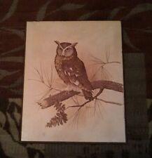 Vintage E. Rambow Owl Large Wood Plaque