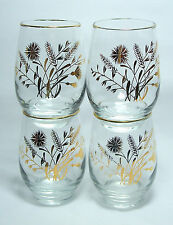 12 Oz Snifter Style Glass (Set of 4) 60's era Gold leaf Wildflower Design.
