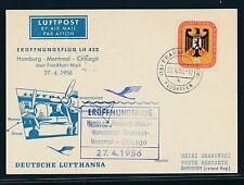 07522) LH FF Frankfurt - Shannon Irland 27.4.56, So-Karte EF 25PF Bundesrat