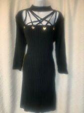 Venus sweater dress - black - XL - sexy neckline with grommets - NWT