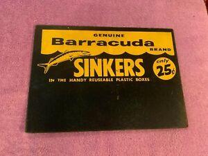 VINTAGE FISHING SIGN DISPLAY BARRACUDA SINKERS