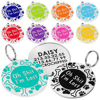 Personalized Dog ID Tag Custom Engraved Pet Name Enamel Tags for Dogs Puppy S L
